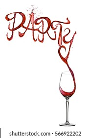 Red wine splash party font pouring to glass on white background
