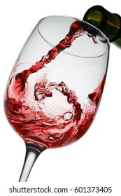 red wine splashing from bottle to glass