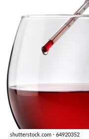 Red wine temperature. A thermometer on a wine glass