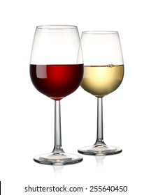 Red wine and White wine isolated on white