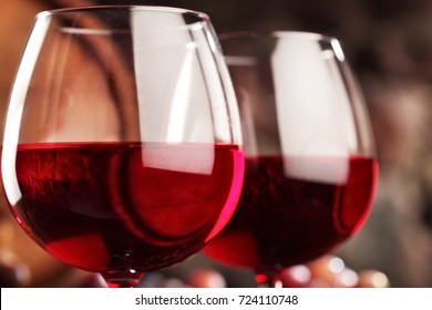 Red wine.Closeup of two glasses of red wine.macro .Selective focus