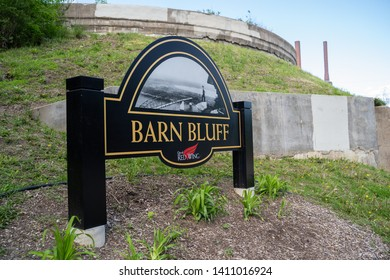 Red Wing, Minnesota - May 25, 2019: Sign for the Barn Bluff trailhead, an overlook of the city and the Mississippi River