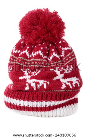 7ac7630e828 Red Winter Bobble Hat Ski Knit Stock Photo (Edit Now) 248109856 ...