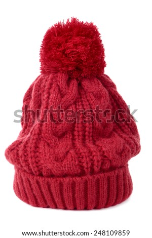 e11192da70c Red Winter Bobble Hat Ski Knit Stock Photo (Edit Now) 248109859 ...