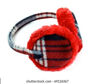 b07e22f18667cc red winter earmuff isolated on white background