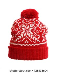 Red winter knitted hat. knitted hat isolated on white background .hat with pompon .