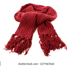 Red winter scarf thick wool isolated white background