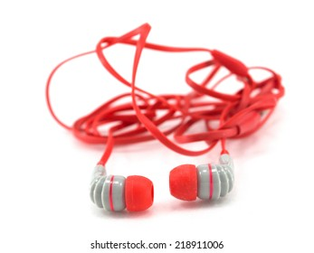 Red wire headphone isolated on white