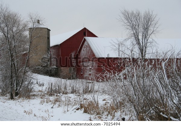 red Wisconsin barn in winter