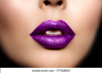 Red woman lips, mouth close up. Beautiful model girl with lipstick plum wine color. Products Treatment.