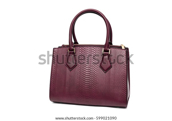 Red woman purse handbag isolated on white background