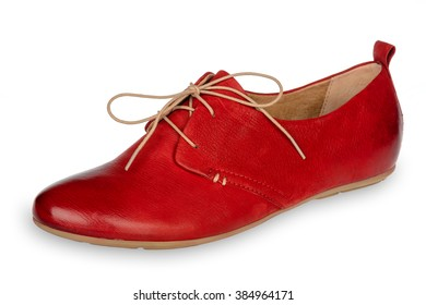 Red woman shoe isolated on white background.