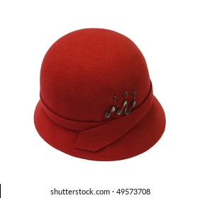 red woman's hat with safety pins