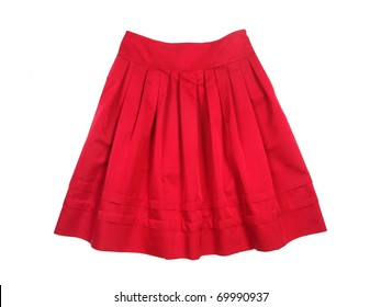 Red women skirt isolated on white