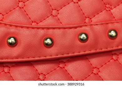 red women's bag  leather texture