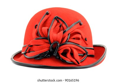 Red womens hat isolated on white background