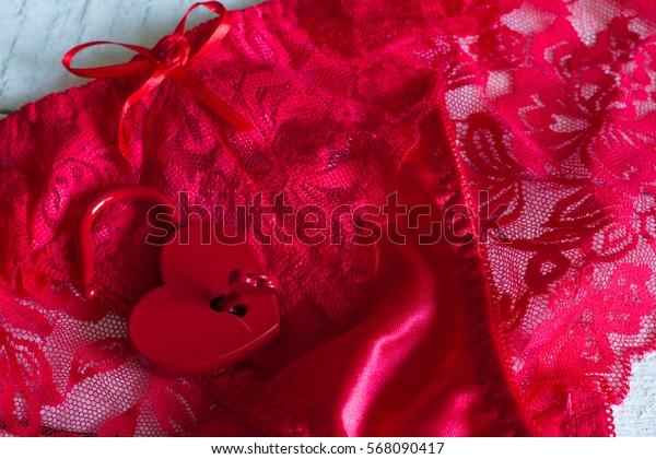 Red women's panties and padlock love valentine concept