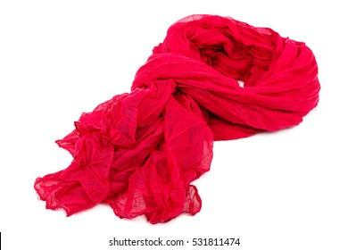 Red women's scarf or shawl isolated on white background.