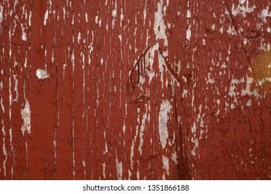 red wood background, broken paint