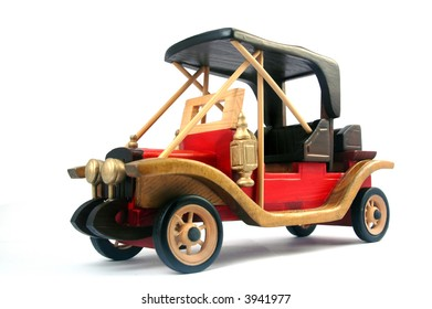 red wood old car toy