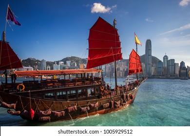 Red wooded boat icon of Hongkong city, red boat for travel Hong kong island, China
