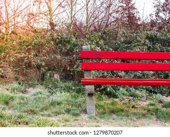 Red Wooden bench in a frozen park in winter