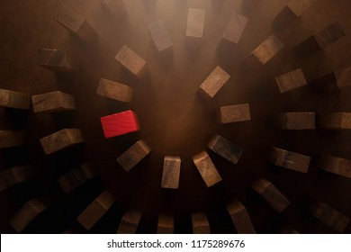 red wooden block with others wooden block in a row leadership ideas concept
