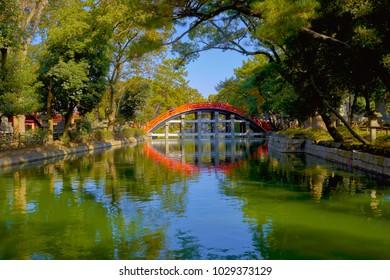 The red wooden bridge in Sumiyoshi Taisha Shrine, Osaka, Japan