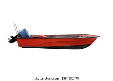 red wooden fishing boat with motor isolated on white background