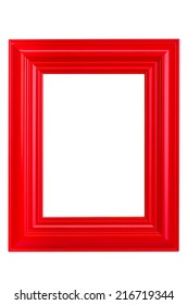Red wooden picture frame - isolated on white background