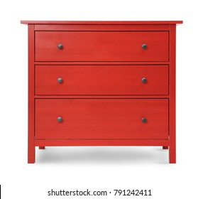 Red wooden wardrobe on white background