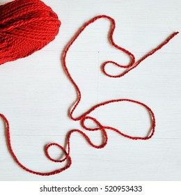 red wool background wood white