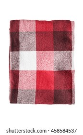 Red wool plaid folded on white background