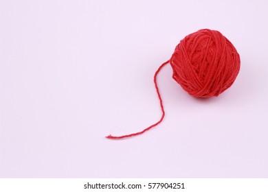 Red wool yarn balls
