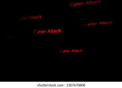 Red word of CYBER ATTACT on black computer screen. abstract web data in binary code.Programming code abstract technology developer.blurred Tech Digital Data Transfer Network concept.