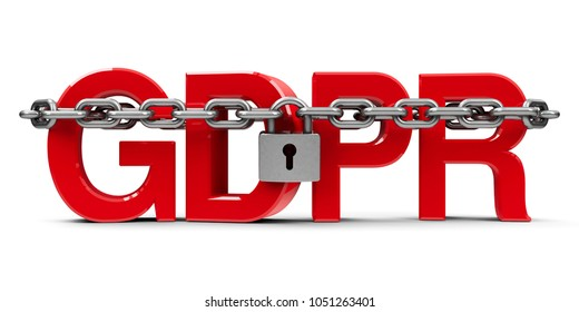 Red word GDPR - General Data Protection Regulation - with chain and lock, isolated on white background, three-dimensional rendering, 3D illustration