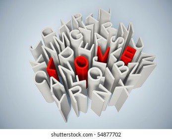 red word love in a grey letters