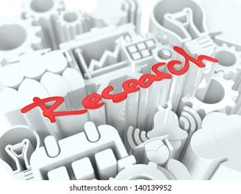 """Red Word """"Research"""" on White Background. Business Concept for Your Blog or Publication."""