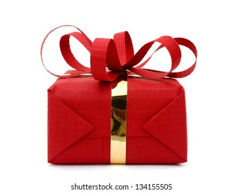 A red wrapped gift box on white