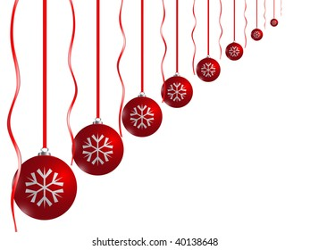 Red xmas balls on white background