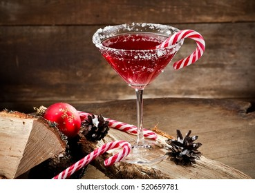 Red Xmas martini on wood