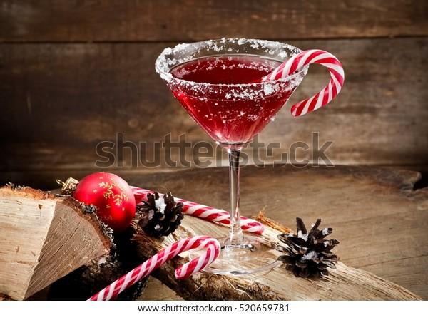 Red Xmas martini on wood