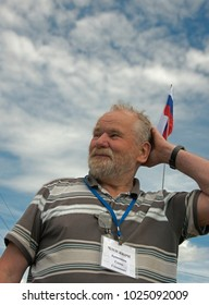 Red Yasyl, Perm Krai, Russia, - on July 8, 2017 / Stepan Krivoshchekov: member of the union of artists of Russia - 5th festival of sculptors in Red Jasyl