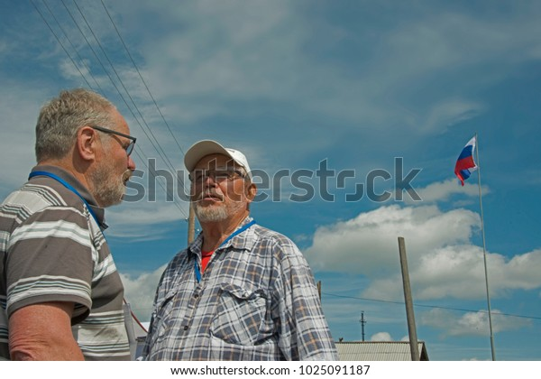 Red Yasyl, Perm Krai, Russia, - on July 8, 2017 / Stepan Krivoshchekov and Anatoly  Moiseevich Ovchinnikov (from left to right: members of the union of artists of Russia) -  5th festival of sculptors