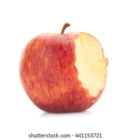 Red yellow apple isolated on white background.