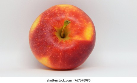 Red and yellow apple on white background. healthy food