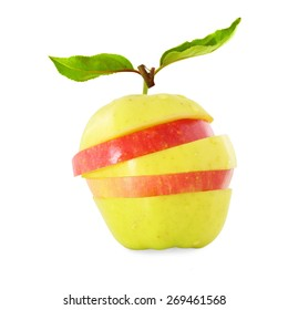 red and yellow apple slice with leaves
