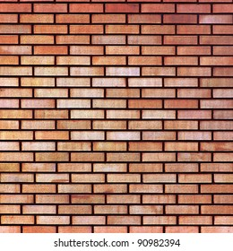 Red yellow beige tan fine brick wall texture background, large