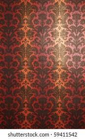 red and yellow with black pattern wallpaper. vertical ornament. Vintage style