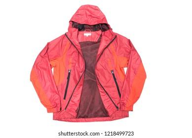 Red yellow and black zipper windbreaker hiking jacket, rain proof jacket hoodie, track jacket sport nylon full zip isolated on white
